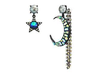 Betsey Johnson Moon Star Non-Matching Earrings
