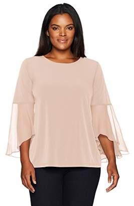 Calvin Klein Women's Plus Size Ruffle Flare Sleeve Top