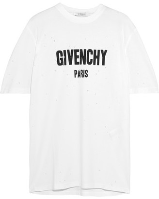 Givenchy - Distressed Printed Cotton-jersey T-shirt - White $740 thestylecure.com