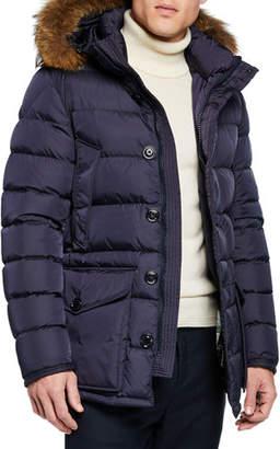Moncler Men's Cluny Fur-Trim Puffer Coat