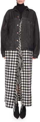 Balenciaga Button-Down Quilted Denim Jacket with Plaid Fringe Skirt