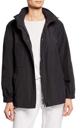 Eileen Fisher Zip-Front Organic Cotton/Nylon Hidden-Hood Jacket