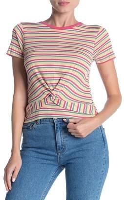 Modern Designer Striped Twist Front T-Shirt