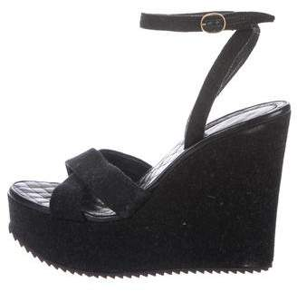 Saint Laurent Wool Wrap-Around Wedges