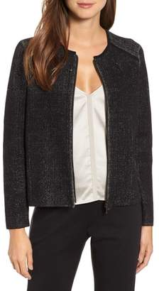 Eileen Fisher Silk Cotton Zip Front Jacket