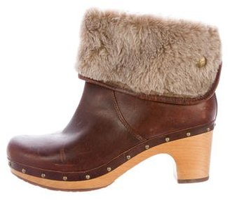 UGG Australia Shearling-Trimmed Ankle Boots $95 thestylecure.com
