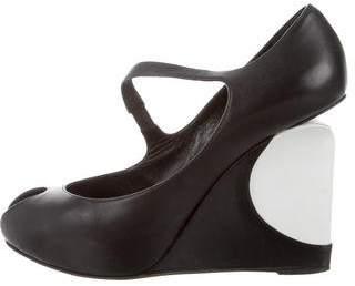 Georgina Goodman Leather Peep-Toe Wedges