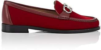 Salvatore Ferragamo Women's Bit-Embellished Velvet Loafers - Red