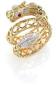 John Hardy Women's Legends Naga 18K Gold, African Ruby& Pavé Diamond Dragon Coil Ring
