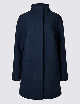 M&S Collection Wool Rich Funnel Neck Coat