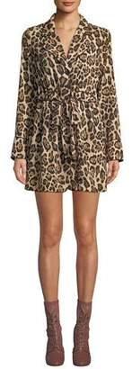 Marled by Reunited Leopard-Print Long-Sleeve Mini Shirtdress