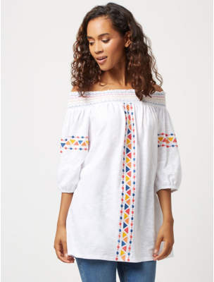 George White Embroidered Detail Bardot Tunic