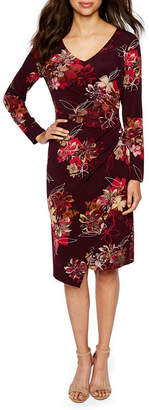 Ronni Nicole Long Sleeve Floral Sheath Dress