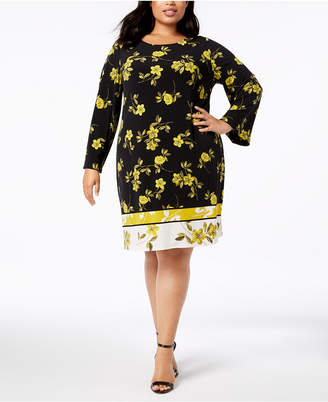 Alfani Plus Size Printed A-Line Dress, Created for Macy's