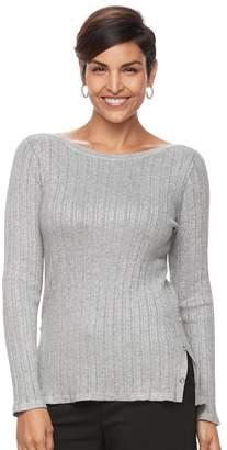 Croft & Barrow Women's Button Side Long Sleeve Top