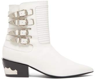 Toga Buckled Leather Ankle Boots - Womens - White