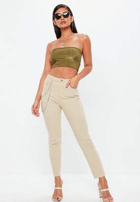 Missguided Sand High Rise Chain Detail Mom Jeans