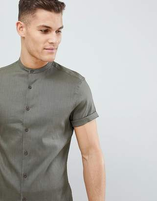 Asos Design DESIGN slim fit linen mix shirt with grandad collar in khaki
