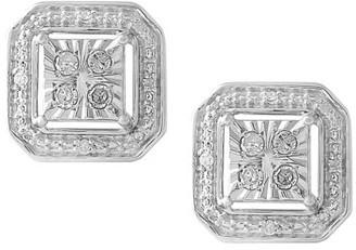 Online Sterling Silver 1/10 CTTW Diamond Asscher Earring