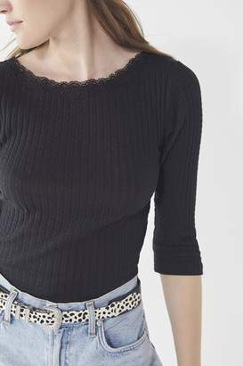 Urban Outfitters Lotus Lace Crew-Neck Thermal Top