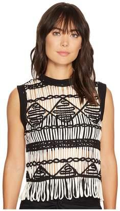 Nicole Miller Soutache Sleeveless Sweater Top Women's Sleeveless