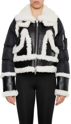 DSQUARED2 Shearling And Nylon Puffer Jacket
