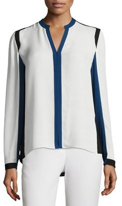 Elie Tahari Layne Long-Sleeve Colorblocked Silk Blouse, Antique $268 thestylecure.com