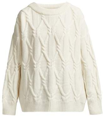 Queene And Belle - Jean Cable Knit Wool Sweater - Womens - White