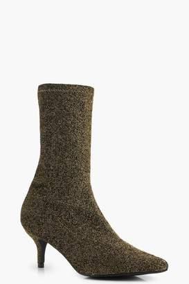 boohoo Shimmer Pointed Toe Kitten Heel Sock Boots