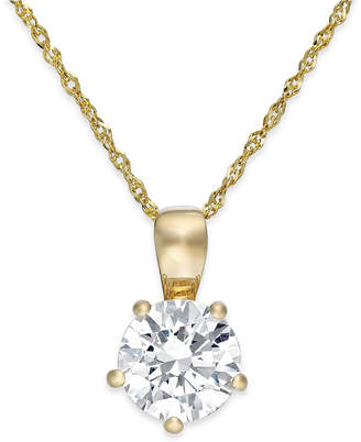 Arabella Swarovski Zirconia Solitaire Pendant Necklace in 14k Gold (2 ct. t.w.)