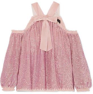Needle & Thread Kaleidoscope Cold-shoulder Velvet-trimmed Sequined Chiffon Top - Blush