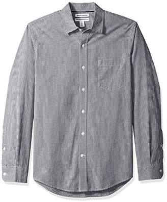 Amazon Essentials Men's Slim-Fit Long-Sleeve Gingham Casual Poplin Shirt