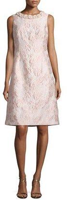 Rickie Freeman for Teri Jon Sleeveless Floral Jacquard Cocktail Dress, Pink $580 thestylecure.com