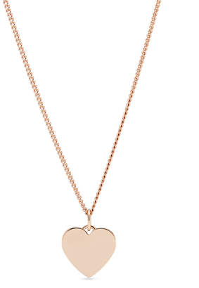 Fossil Engravable Heart Rose Gold-Tone Stainless Steel Necklace
