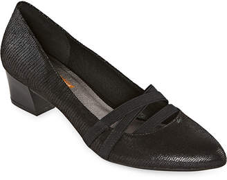 Yuu Womens Ottie Pumps Pointed Toe Stacked Heel