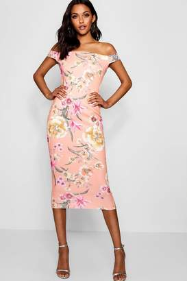 boohoo Tall Floral Off The Shoulder Midi Dress