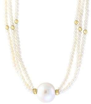 Effy 14K Yellow Gold and Freshwater Pearl Necklace