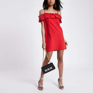 River Island Womens Red ruffle bardot cami dress