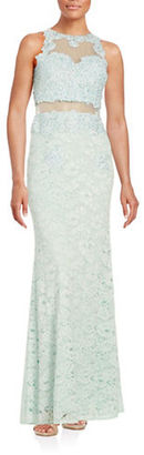 Betsy & Adam Illusion Lace Gown $299 thestylecure.com