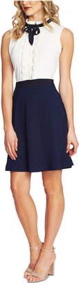 CeCe Ruffled Contrast-Skirt Dress