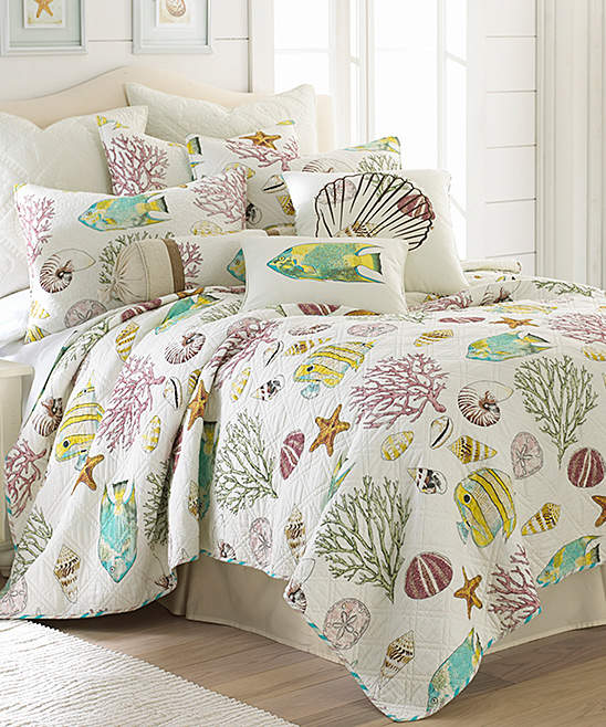 White Coral Life Cotton Quilt Set