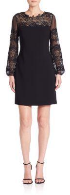 Elie Tahari Roni Lace Detail Dress $478 thestylecure.com