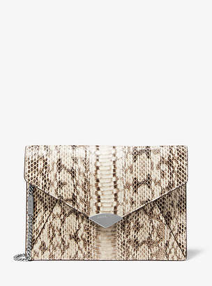 Michael Kors Barbara Snakeskin Envelope Clutch