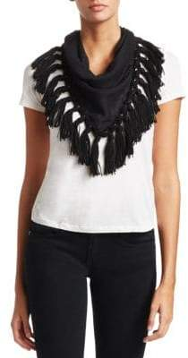 Saint Laurent Fringe Alpaca& Wool Scarf