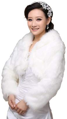 Vanpower Women's Faux Fur Wedding Shawl Stoles Wraps Cape for Wedding Dress Winter