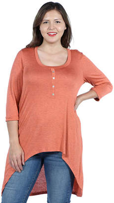 24/7 Comfort Apparel Laila Henley Neckline Tunic Top - Plus