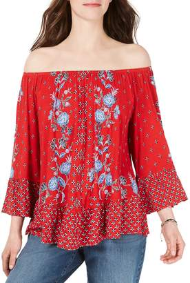 Style&Co. Style & Co. Petite Floral Print Off-the-Shoulder Top