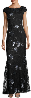 Vera Wang Sequin-Embroidered Lace Cap-Sleeve Gown, Black/Blue $259 thestylecure.com