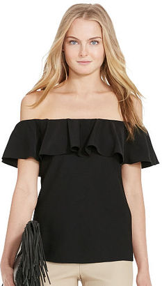 Polo Ralph Lauren Ruffled Off-the-Shoulder Top $198 thestylecure.com