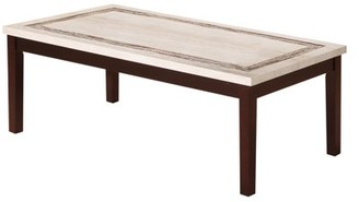 """Ore International 17.5""""In Ivory Knox Faux Marbelized Granite Top Coffee Table"""